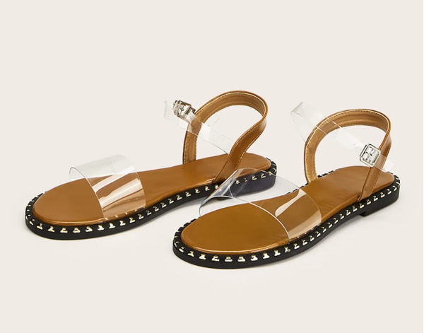 Clear Boho-Inspired Slingback Sandals