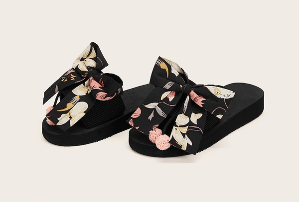 Floral Print Oversized Bow Slides