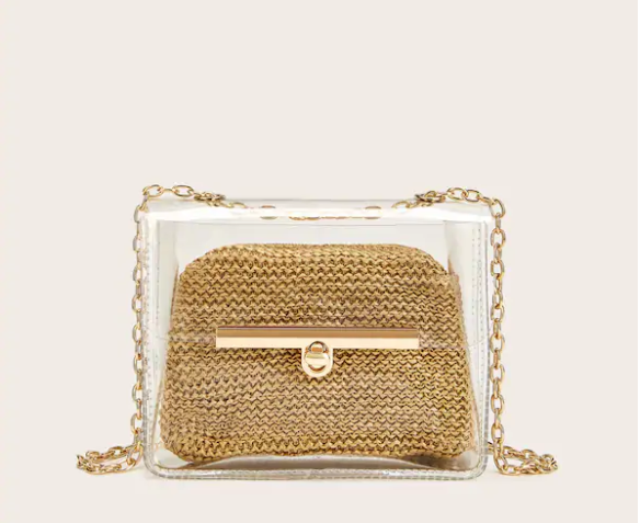 Double Layer Cross-Body Bag with Chain Strap