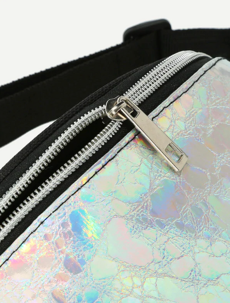 Holographic Front Zip Fanny Pack with Skinny Strap