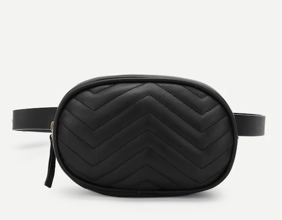 Chevron Faux Leather Fanny Pack with Adjustable Strap