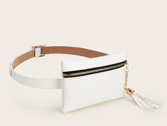White Tassel Front Zip Fanny Pack with Adjustable Belt