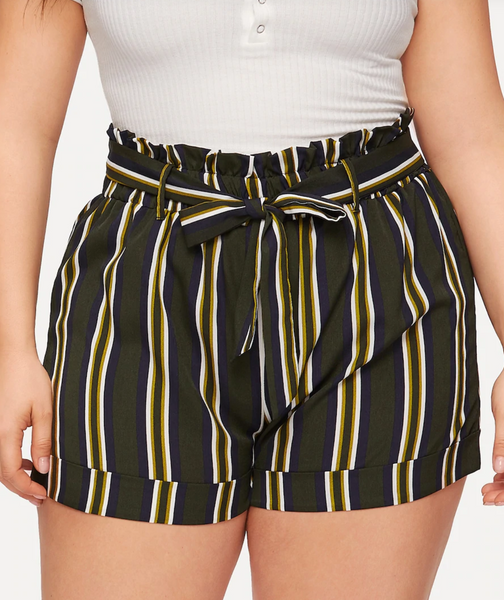 RD Bougie- Pin-Striped Paper Bag Waist Shorts