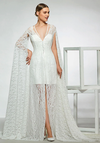 Short Satin Strapless Wedding Dress with Lace Cape Jacket