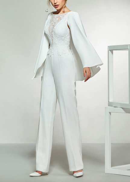 Satin Crepe & Lace Jumpsuit with Plunging Neckline and Cropped Capelet
