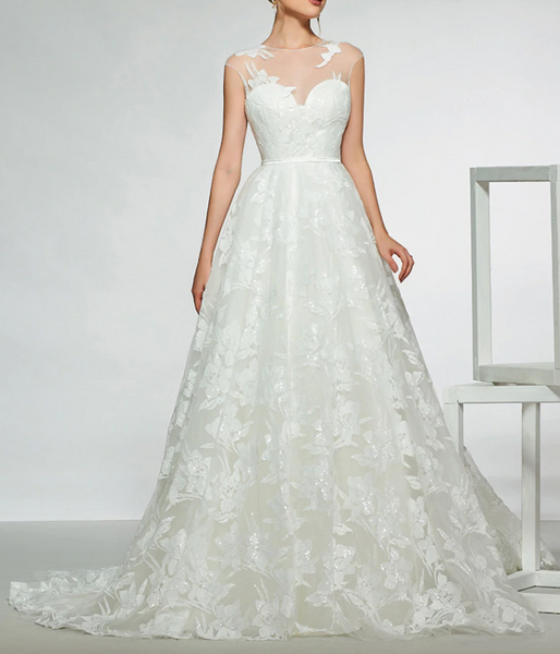 Lace A Line Wedding Gown with Sweetheart Neckline & Sheer Illusion Lace Detail