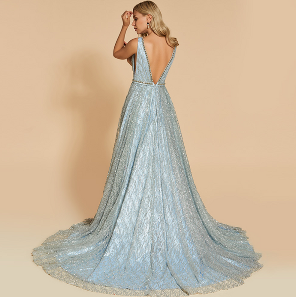 Sequined Millennial Blue Wedding Gown with Crystal Embellished Plunging Neckline