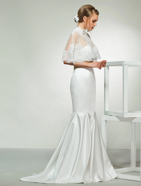 Strapless Satin Crepe Mermaid Wedding Gown with Scalloped Lace Caplet