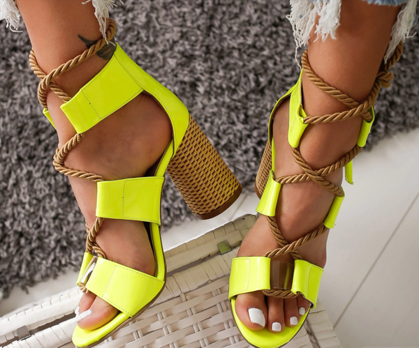Neon Patent Leather Hemp Rope Chunky Heel Sandals
