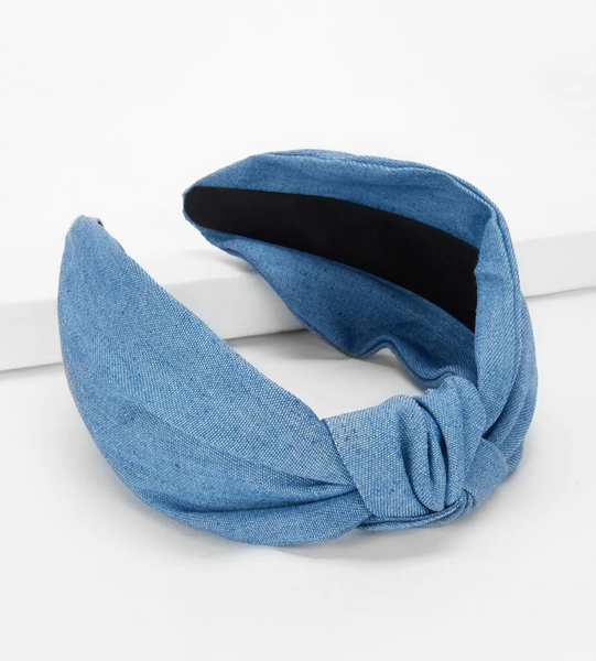 Denim Blue Knot Headband