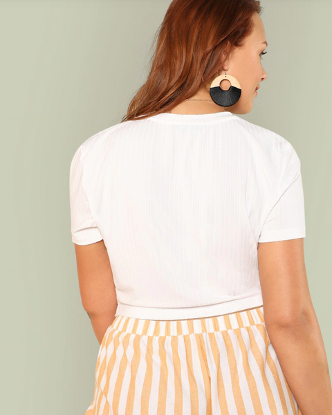 RD Bougie- Short Sleeve Twist Front Crop