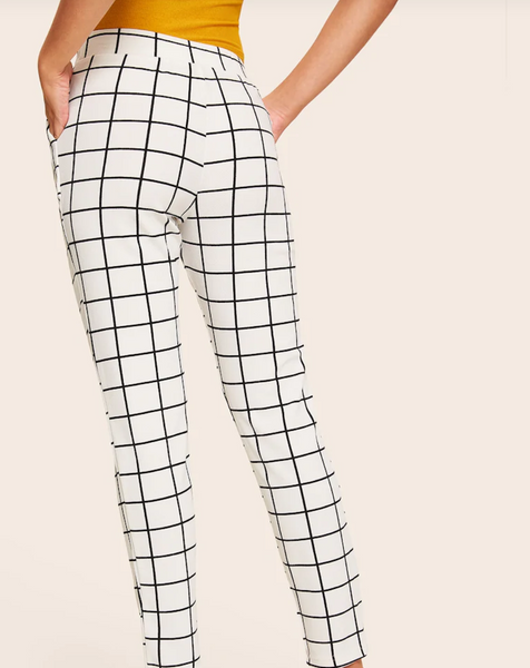 Cropped Grid Pants with Slant Pockets