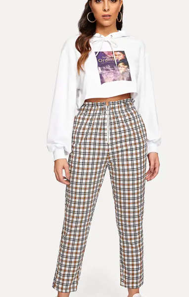 Cropped Plaid Peg Pants with Zip Closure