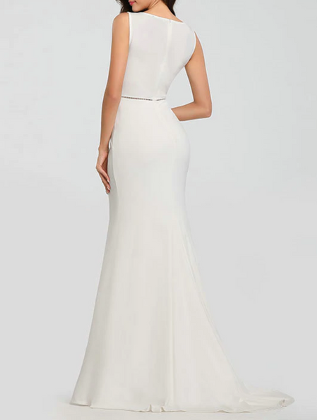Embroidered Satin Crepe Trumpet Wedding Gown