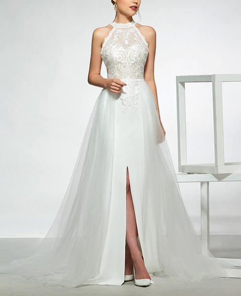 Crepe Tulle A Line Wedding Gown Embroidered Lace Bodice
