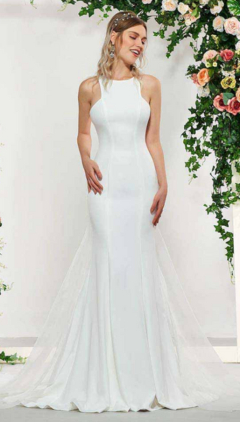 Minimalist Crepe Trumpet Wedding Gown with High Neckline & Detachable Train