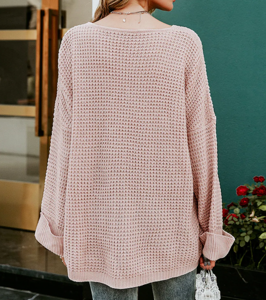 RDevine Casual-Soft Pink Drop Shoulder Knit Sweater with Front Pocket