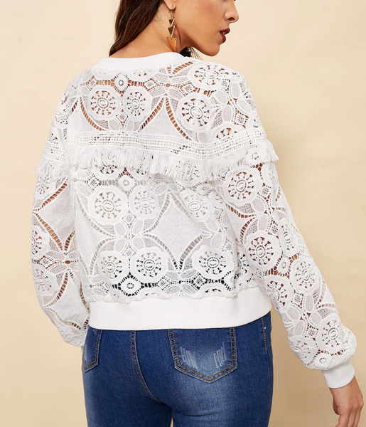 RDevine Casual- Lace Fringed Cut-Out Bomber Jacket