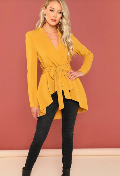 RDevine Casual- Belted Asymmetrical Cardigan