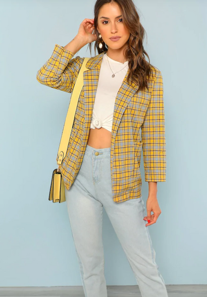 RDevine Casual- Plaid Cropped Sleeve Longline Blazer