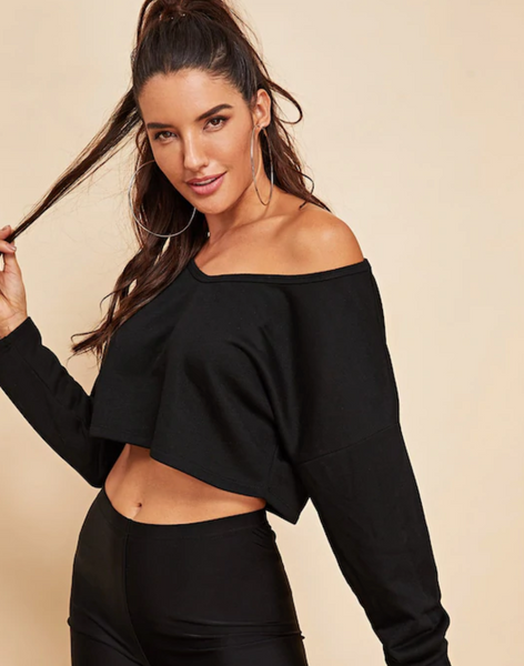 RDevine Casual- Cropped Drop Shoulder Sweater