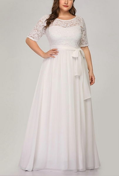 Chiffon Wedding Gown with Lace Overlay & Belted Sash