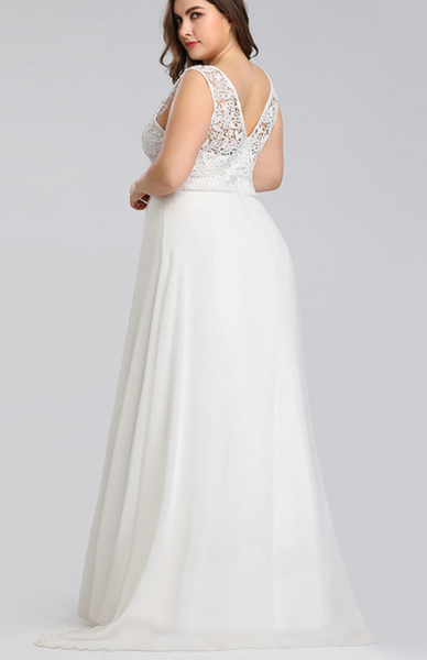 Sleeveless Chiffon Wedding Gown with Crocheted Lace Bodice