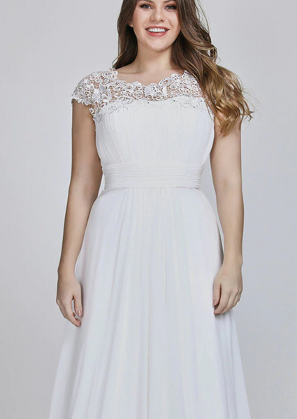 Chiffon & Lace A Line Wedding Gown with Romantic Cap Sleeves & Keyhole Back