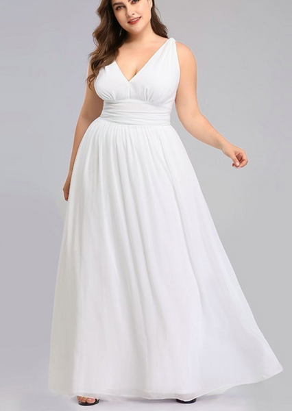 Chiffon Wedding Gown with V Neckline & Fitted Empire Waistline