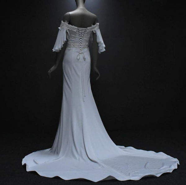New Arrival- Satin Chiffon Off-the-Shoulder Wedding Gown with Beaded Embellishment