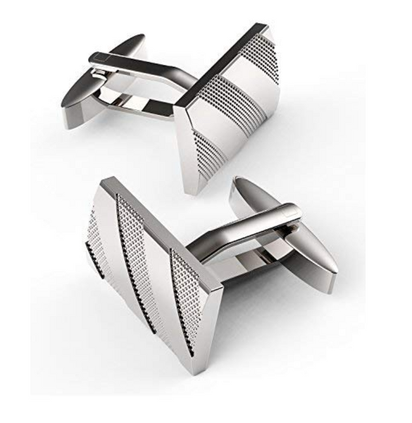 Polished Stainless Steel Plated Cufflinks with Diagonal-Ribbed Etching
