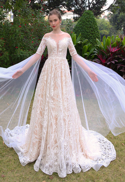 Sequin Lace Off-the-Shoulder A Line Wedding Gown with Ethereal Flared Sleeves