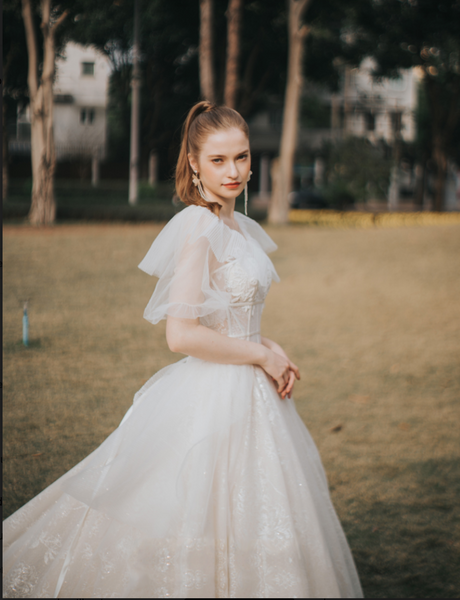 Tulle & Lace Ballgown with Boned Corset & Puff Sleeves