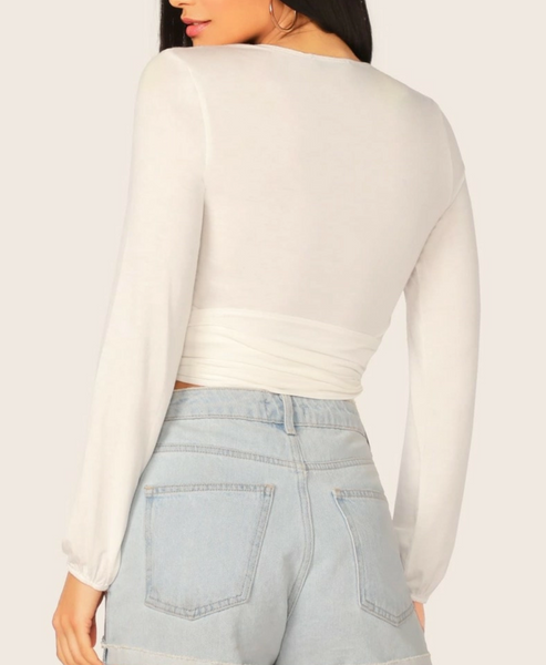 "RDevine Casual- The ""Keyana"" White Wrap Belted Crop Top"