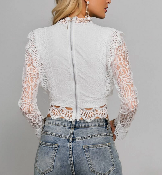 "RDevine Casual- The ""Soleii"" Guipure Lace Crop"