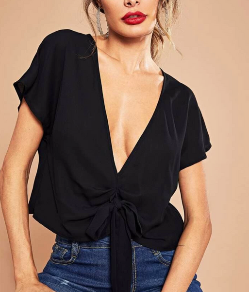 "RDevine Casual- The ""Lorelei"" Plunging V Ruched Crop"