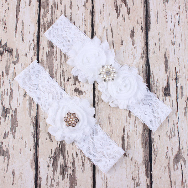 Lace Garter Set with Chiffon Rosettes