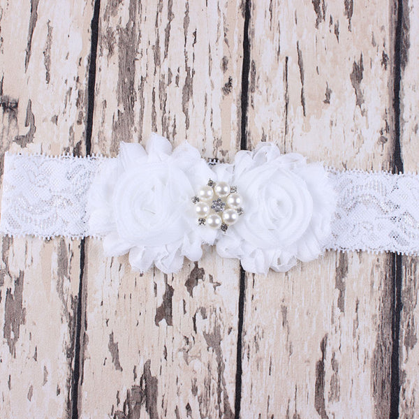 Lace Garter Set with Chiffon Rosettes - RDevine Fashion (Wedding & Bridal)
