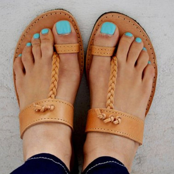 Braided Leather Sandal with Single Toe Strap