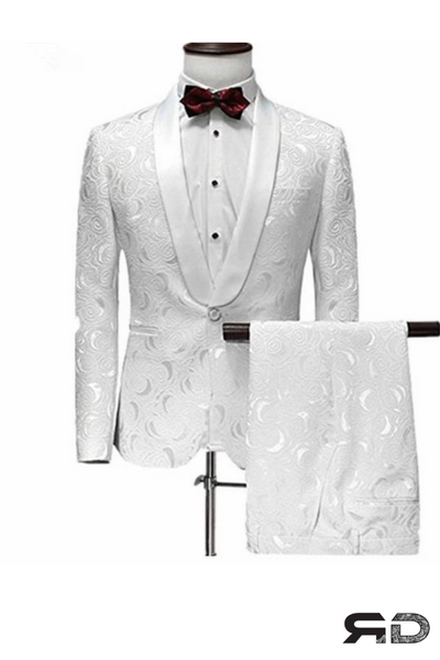 (MTM) White Jacquard Suit with Tuxedo Lapel