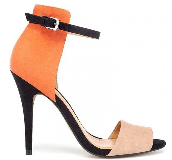 Orange Color Block Sandal Heel- Coming Soon
