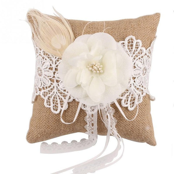 Burlap Wedding Ring Pillow with Lace & Pearl Flower