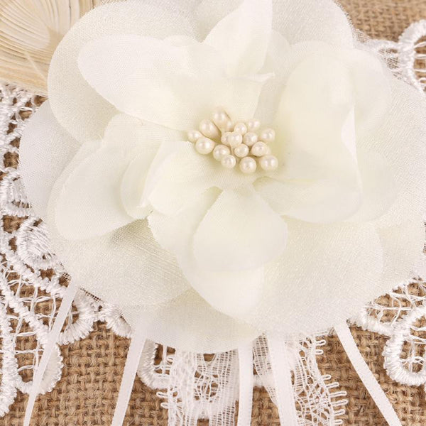 Burlap Wedding Ring Pillow with Lace & Pearl Flower - RDevine Fashion (Wedding & Bridal)