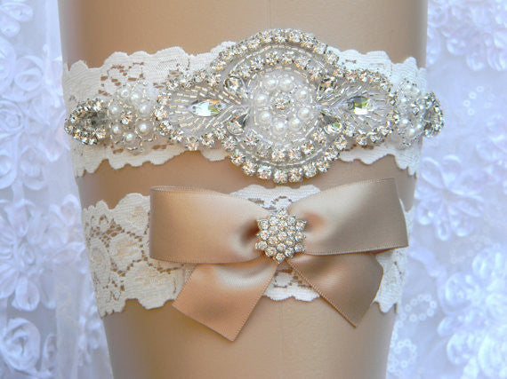 Vintage Lace Garter Set with Crystal Beaded Embellishment