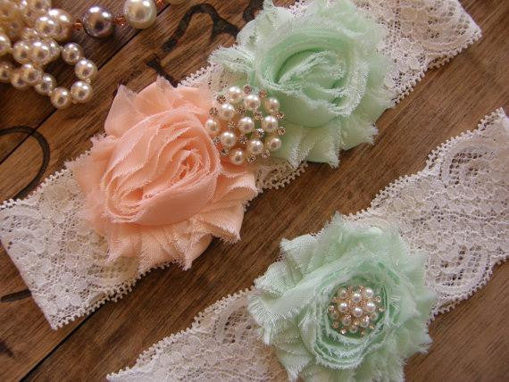 Lace Garter Set with Soft Peach & Mint Rosettes - RDevine Fashion (Wedding & Bridal)