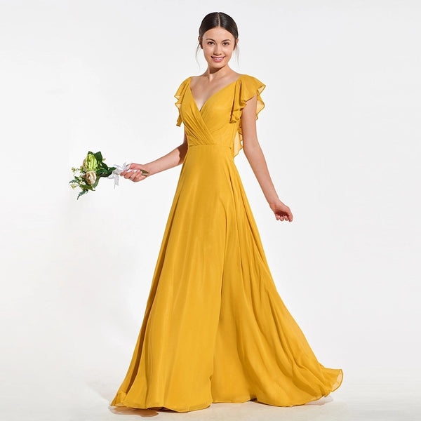 Bridesmaid Dress- Chiffon Faux Wrap Dress with Flutter Sleeves