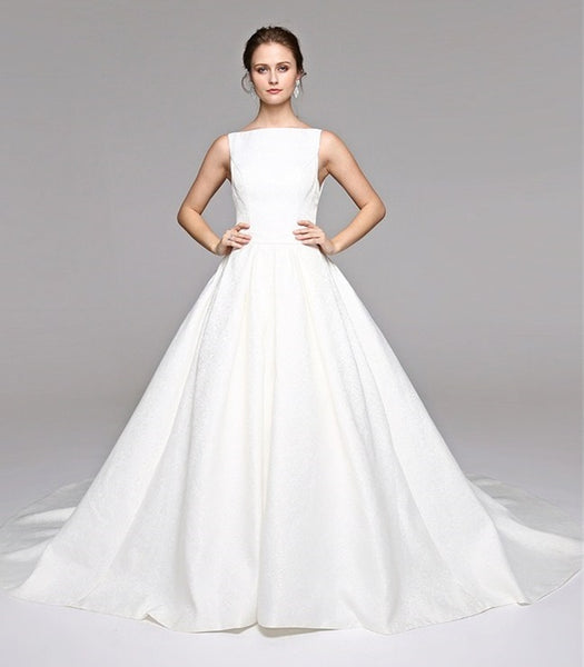 Satin A Line Princess Wedding Gown with Bateau Neckline & Back Bow Detail