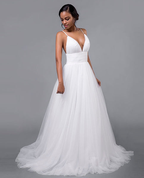 Tulle A Line Beach Wedding Gown with Empire Waist