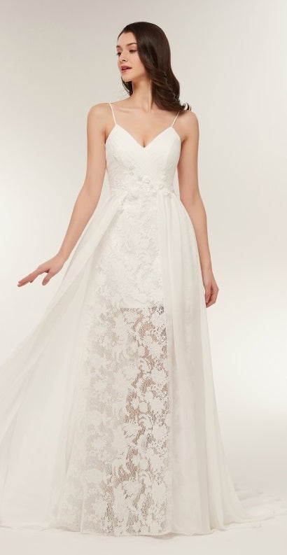Chiffon A Line Wedding Gown With Embellished Lace Applique And Delicate Floral Lace Skirt