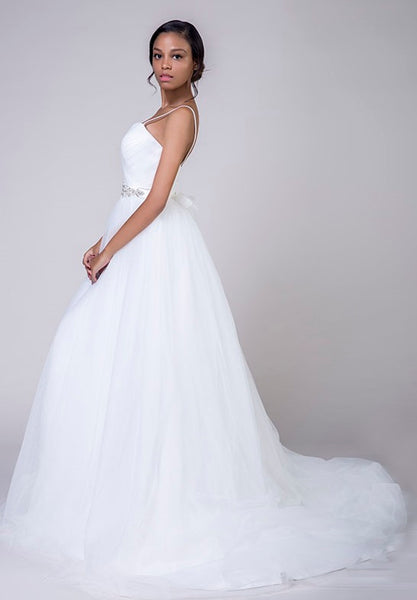 Tulle A Line Wedding Gown with Sweetheart Neckline & Embellished Belted Waist